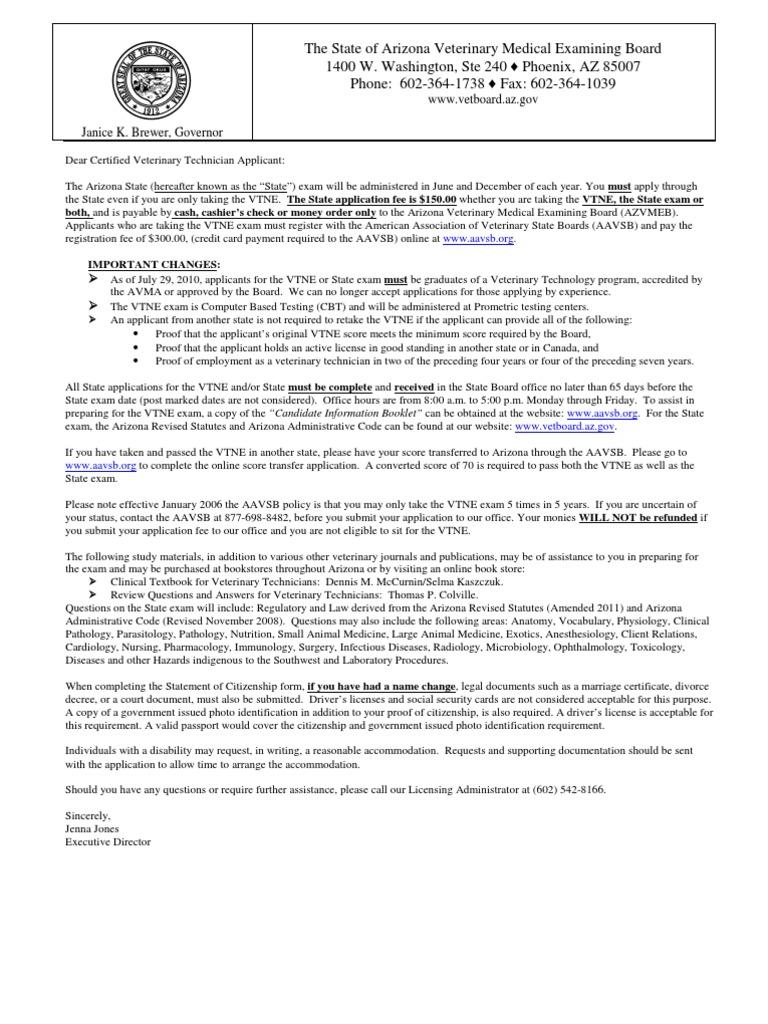 Arizona Veterinary Technician Application United States