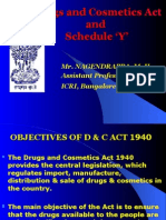 Drugs and Cosmetics Act and Schedule Y