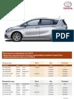 Akciový cenník Toyota Verso 2012 platný pre Slovensko od novembra 2011