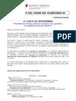 """Programma di novembre 2011, """"Il Cielo Del Planetario"""""""