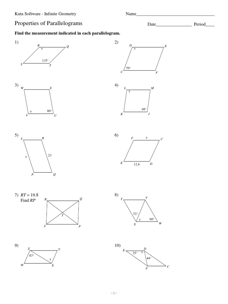 Printables Properties Of Parallelograms Worksheet properties of parallelograms worksheet versaldobip parallelogram versaldobip