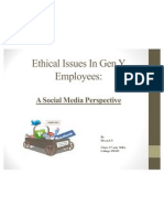Ethical Issues in Gen Y Employees-A Social Media Perspective