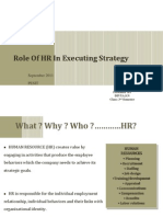 Role of HR in Executing Strategy