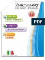 Lecture 12,  General Anesthesia (Script)
