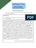 Ficha de Trabalho - 9º ano - Formação de Palavras
