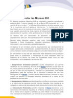 Como Inter Pre Tar Las Normas ISO