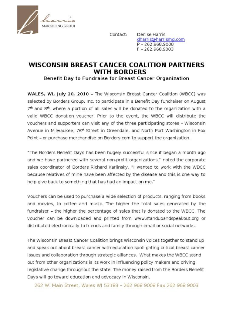 Borders Benefit Day PR_FINAL | Wisconsin | Fundraising