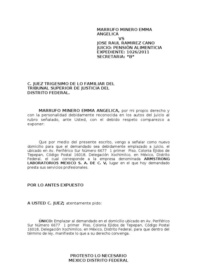 Escrito se alando nuevo domicilio angelica for Modelo demanda clausula suelo