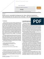 Energy and Its Sustainable Development for China - Editorial Introduction