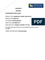 Monetary Theory and Policy QME5001 Jan 2012