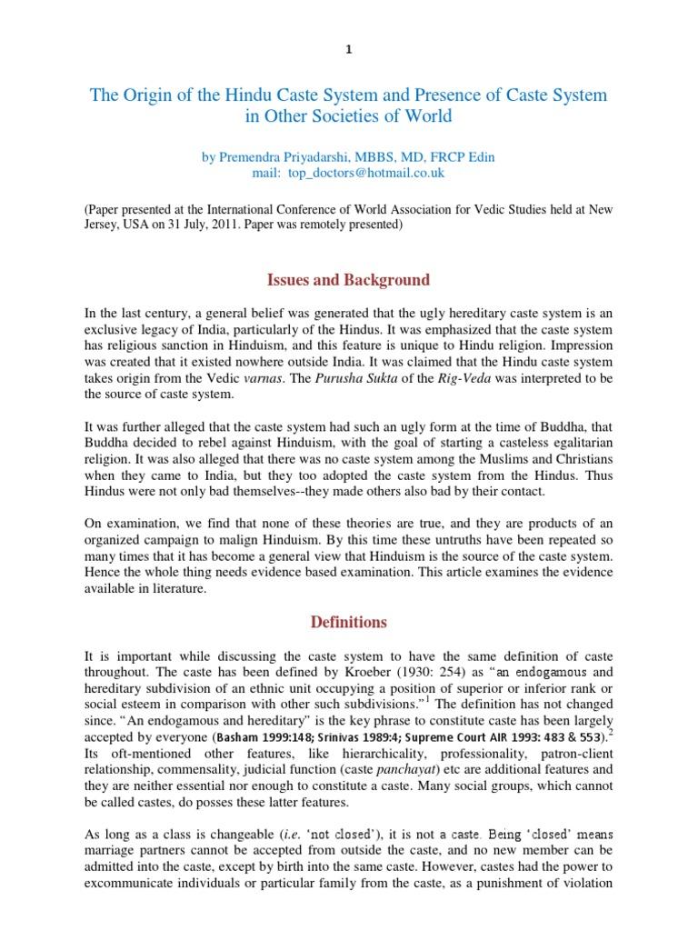 Origin of Caste System   Vedas   Hindu Literature