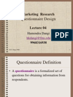 Marketing Research- Questionnaire Design