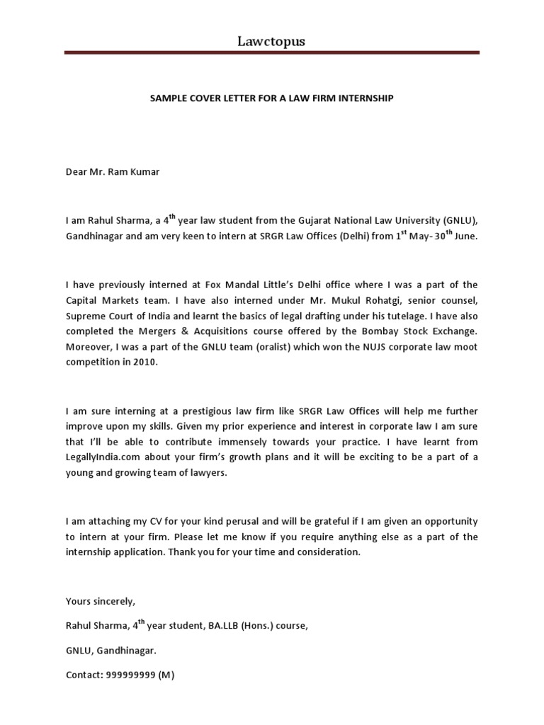 Sample Cover Letter For A Law Firm Internship 3 .  Sample Cover Letter For Internship