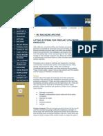 Lifting Systems for Precast Concrete Products Mc Magazine Summer 1998 Concrete Publications Npca 120
