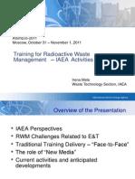 Training for Radioactive Waste Management – IAEA Activities