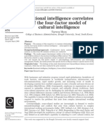 Emotional Intelligence Correlates of the Four Factor Model of Cutural Intelligence