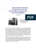 The Roman Catholic Church has taken a Sinister Step toward One World Government and a One World Religion