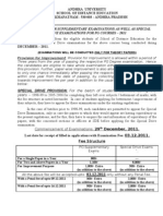 Andhra Univ Notification for Supple Exam as Well as Special Drive Exam for PG Courses 10112011