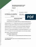Advanced Micro Devices, Inc. v. S3 Graphics Co., Ltd., C.A. No. 11-965-LPS (D. Del. Oct. 25, 2011) (public version released Nov. 8, 2011)