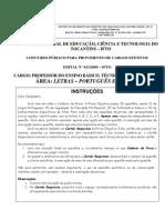 Prova IFTO2009 220 Letras Portugues Ingles