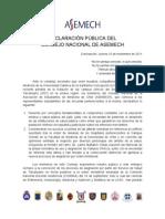 Declaración Pública Consejo Nacional Asemech 10.11