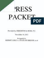 Press Packet Lisle v St of Or