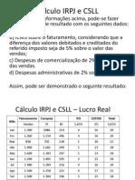 Cálculo IRPJ e CSLL