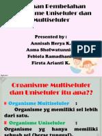 Peranan Pembelahan Organisme Uniseluler Dan Multiseluler