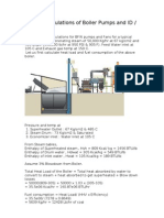 Sample Calculations of Boiler Pumps and ID