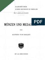 Münzen und Medaillen / von Alfred von Sallet