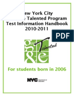 2010-2011 NYC Gifted & Tallented Test for Birth Year 2006