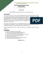 IGF6 W123 PSI Survey Report 21 October 2011