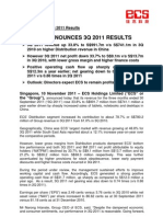 ECS Announces 3Q 2011 Results