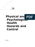 Unit 15 Physical and Psychological Health Hazards and Control Final