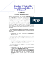 Comparing the Kingdom of God & the Kingdom of Heaven