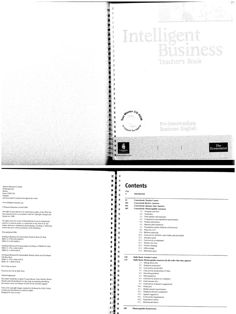 Intelligent business pre intermediate teachers book fandeluxe Image collections