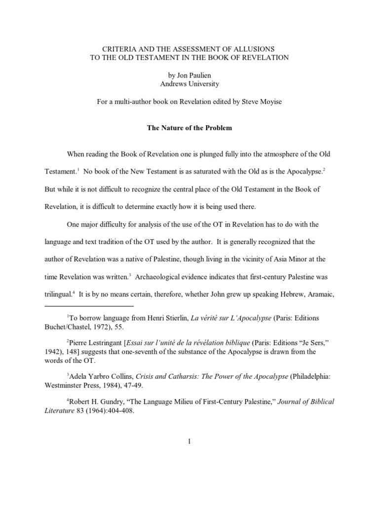 Allusions In Revelation Book Of Revelation Septuagint