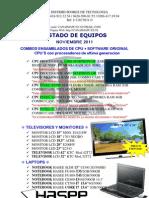 Listado de Equipos Noviembre 2011