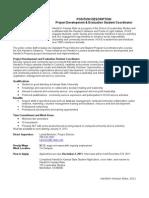 Position Description- Project Development and Evaluation 11-7-2011