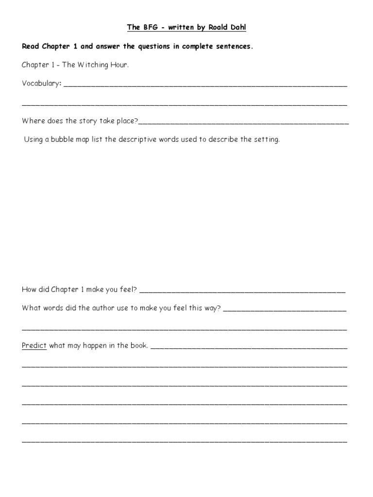 Worksheets Bfg Worksheets bfg novel unit