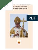 Catequesis Del Santo Padre Benedicto XVI Sobre S Pablo