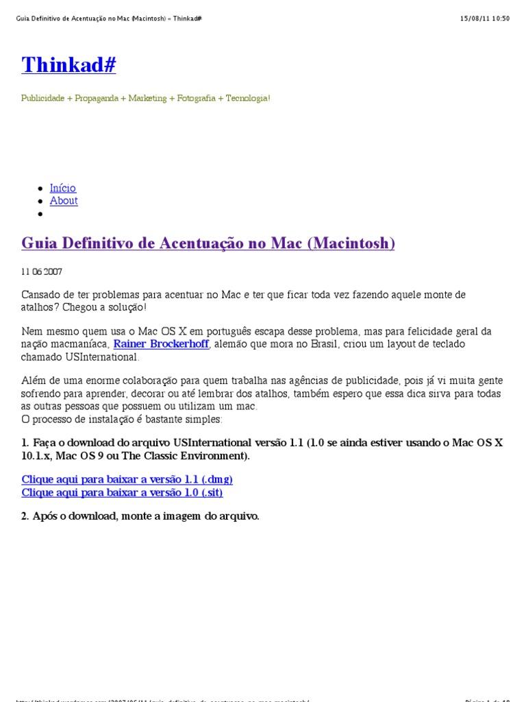Guia Definitivo de Acentuação no Mac (Macintosh) « Thinkad#