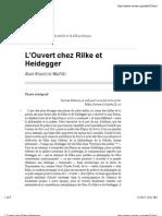 L'Ouvert chez Rilke et Heidegger