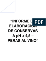 INFORME DE ELABORACIÓN DE PERAS AL VINO