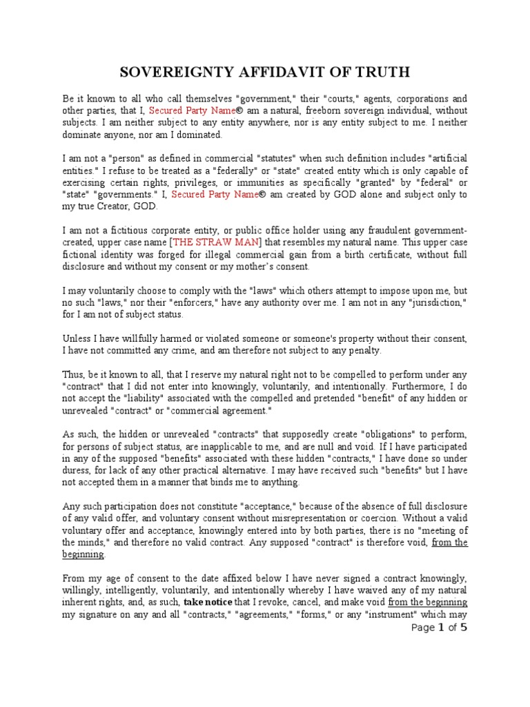 Sovereignty Affidavit of Truth Made Simple Template Example ...