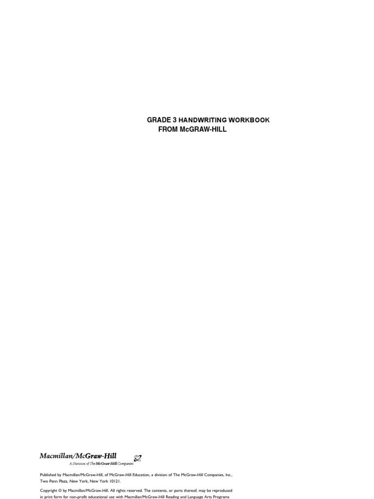 Workbooks mcgraw hill workbook : Grade 3 Handwriting Workbook | Letter Case | Handedness