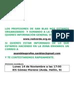 Cartel información Asamblea de profesores de San Blas