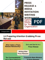 Press Release Writing Workshop 2