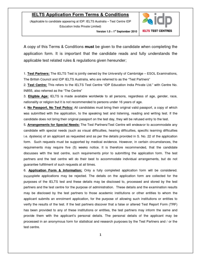 IELTS Terms and Conditions   International English Language