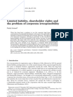 Limited Liability Shareholder Rights and the Problem of Corporate Irresponsibility